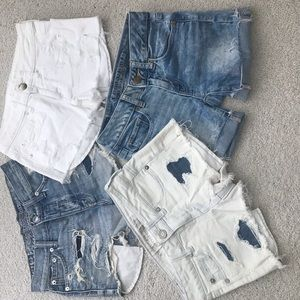 Four pair American Eagle denim shorts in size 00.